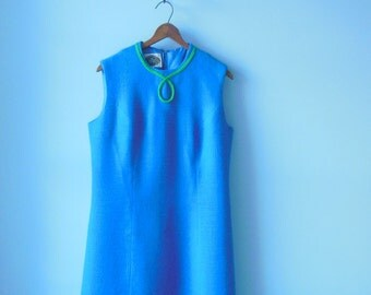 The sporting tailors dress • 1960s blue dress • vintage 60s blue shift dress