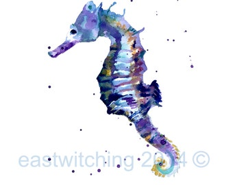 Watercolor Seahorse print, Blue Seahorse Illustration, ready to frame, 8x10 print