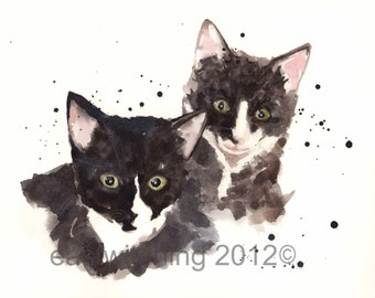 KITTEN Print, kitten art, cute animal art, cat paintings, *x10 print, cat lover gift,