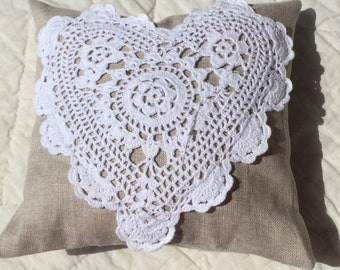 Herbal Dream Pillow lavender filled White heart Natural Linen Delicious scent