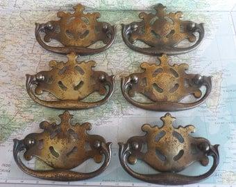 SALE! 6 vintage curvy metal and brass pull handles*