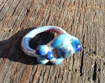 Glass Ring with Amber Purple Textural Bumps Size 8 Hand Sculpted