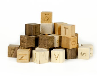 Alphabet & Number Blocks Toy - Learning Toy - Developmental Toy - Wood Blocks - Engraved - Building Blocks - Wood Toy - ABC Toys -BL15