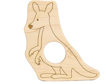 Kangaroo Wood Toy Teether