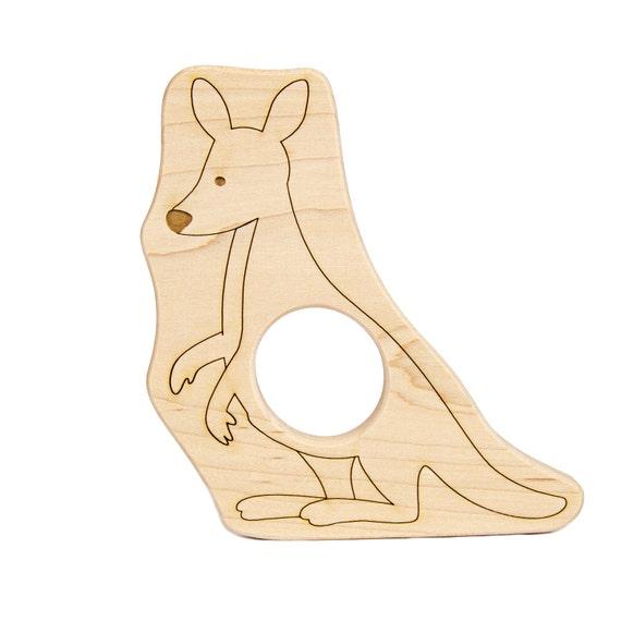 Kangaroo Wood Toy Teether