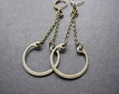 Geometric Earrings, Statement Earrings, Bold, Vintage Hardware, Antique Brass, Long Dangle, Chain Earrings, Modern, Contemporary