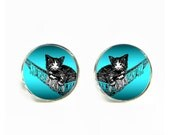 Kitten in Hammock small post stud earrings Stainless steel hypoallergenic 12mm Gifts for her