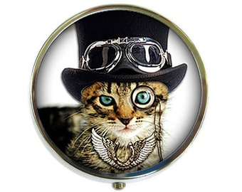 Dandy Cat Pill Box Stash Case Silver Steampunk