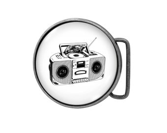 Belt buckle Boombox Antiqued Silver Gifts for him Gifts for her