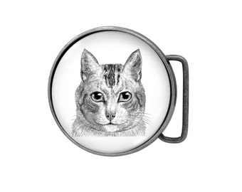 Belt buckle Cat Antiqued Silver Gifts for him Gifts for her