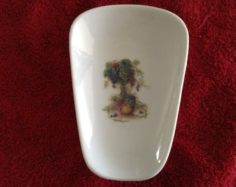 "Ceramic Spoon Rest with Tree of Grapes  5"" Long and 3 1/2 Inches at Top of Spoon Rests"