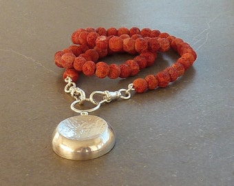 Red sponge coral necklace, statement necklace, strand necklace, sterling silver pendant