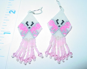 Pink & White beaded Delica Bead Butterfly earrings