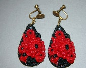 Vintage  Art Deco Celluloid Earrings Molded Red And Black Screw Back 1930s Dangle Screwbacks