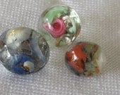 Lot of 3 VINTAGE Glass Round Ball BUTTONS
