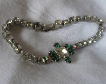 VINTAGE Silver Metal Green & Clear Rhinestone JEWELRY Bracelet