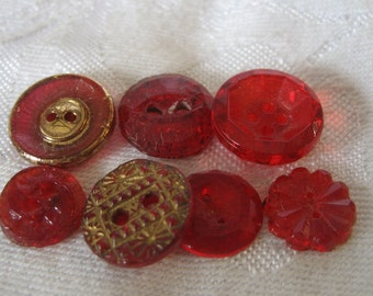 Lot of 7 VINTAGE Gold Luster & Red Glass BUTTONS