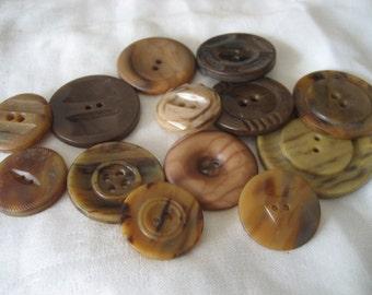Lot of 13 Vintage Mottled Tan Browns Plastic BUTTONS