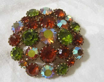 Vintage Fall Colors Rhinestone in Metal Large Costume Jewelry Brooch