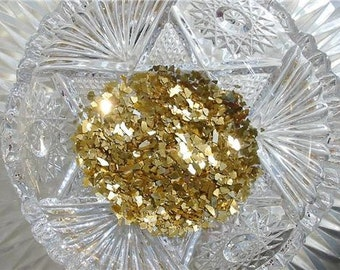 Real German GLASS GLITTER Antique Gold 1 Ounce 40 Grit Shards Coarse
