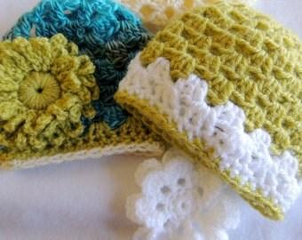 Pattern - SUPER Fast Crochet Baby Hat plus Flower