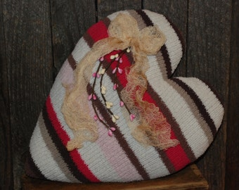 Beautiful Chocolate Pink Striped Sweater Pillow Valentine Heart Tuck