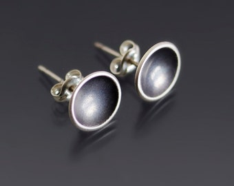 Tiny Saucer Earrings - Sterling Silver Cup Stud Earrings