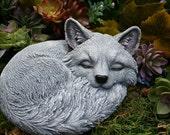 Sleeping Fox Statue - Outdoor Sculpture - Cute Concrete Decor For Your Garden