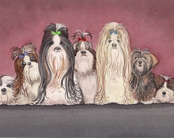 You never can have enough shih-tzus (shihtzus) / Lynch signed folk art print