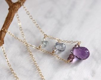 Amethyst Necklace and Sapphires in 14K Solid Gold - A Trio of Faceted Teardrop Gems