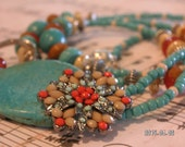 The Great Southwest- Turquoise, coral Beaded Lanyard/ID/Badge/Glasses