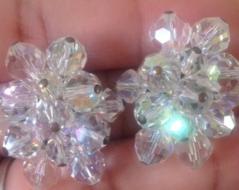 Earrings, Vintage Crystal Beaded Clip On Earrings