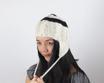 Hat Hand Knit Ear Flap Bulls Eye Black and White Knit Hat Cable Knit Beanie