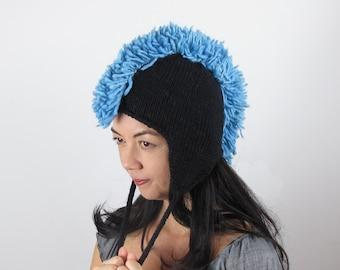 Blue Mohawk Hat Baby Blue Ear Flap Hat Wool Hand Knit