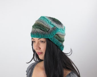 Cloche Hat Silk Wool Turquoise Green and Grey Hand Knit Hat - Woman's Striped Hat