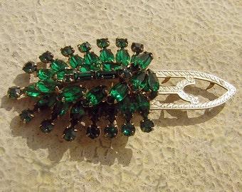 30s Bold Beautiful Dark Green Vintage Rhinestone Dress Clip
