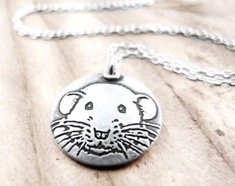 Dumbo rat necklace, silver pet rat jewelry, rat memorial necklace, Dumbo rat remembrance jewelry
