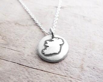 Tiny Ireland necklace silver map jewelry Ireland jewelry  Éire necklace  Éire jewelry map of Ireland
