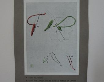 Antique Edwardian Embroidery Instruction Card Print #11 Close Herringbone Stitch - EnglishPreserves