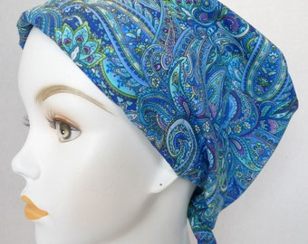English Traditions Chemo Scarves Blue Paisley Chemo Cancer Hair Loss Scarf Turban Hat