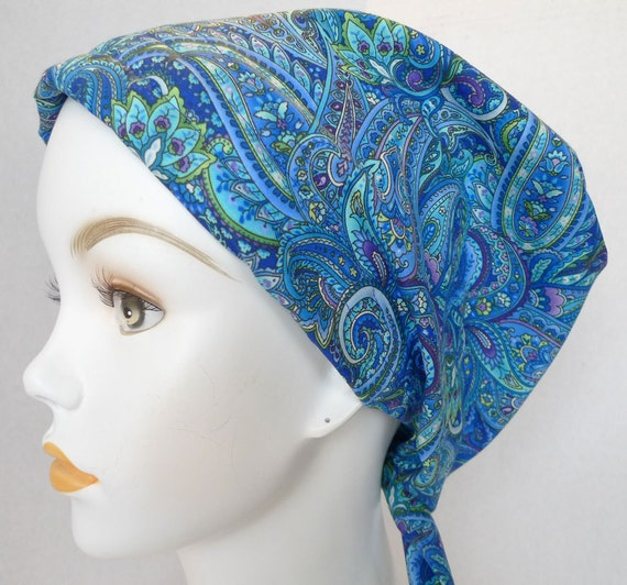 traditions chemo scarves blue paisley chemo cancer