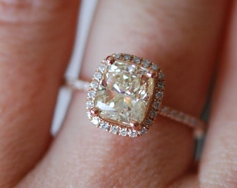 Engagement rings diamond ring. Rose gold ring with cushion diamond. Engagement ring by Eidelprecious