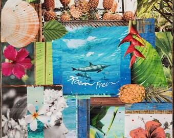ROAM FREE HAWAII, New 8x10, 11x14, 16x20, Hawaii, Hand-Signed matted print, Hawaii art, Tropical Art, Dolphins, Pineapples, Orchids, Hawaii