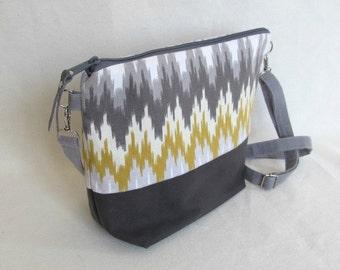 DAY BAG in Ikat and Waterproofed Canvas // Medium Cross Body Purse // Gray and Yellow Chevron Handbag