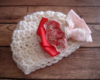 Baby Girl Hat, Newborn Girl Hat, Infant Girl Hat, Baby Girl Beanie, Crochet Baby Hat, Homecoming Hat, Hat for Baby Girl, Crochet Newborn Hat