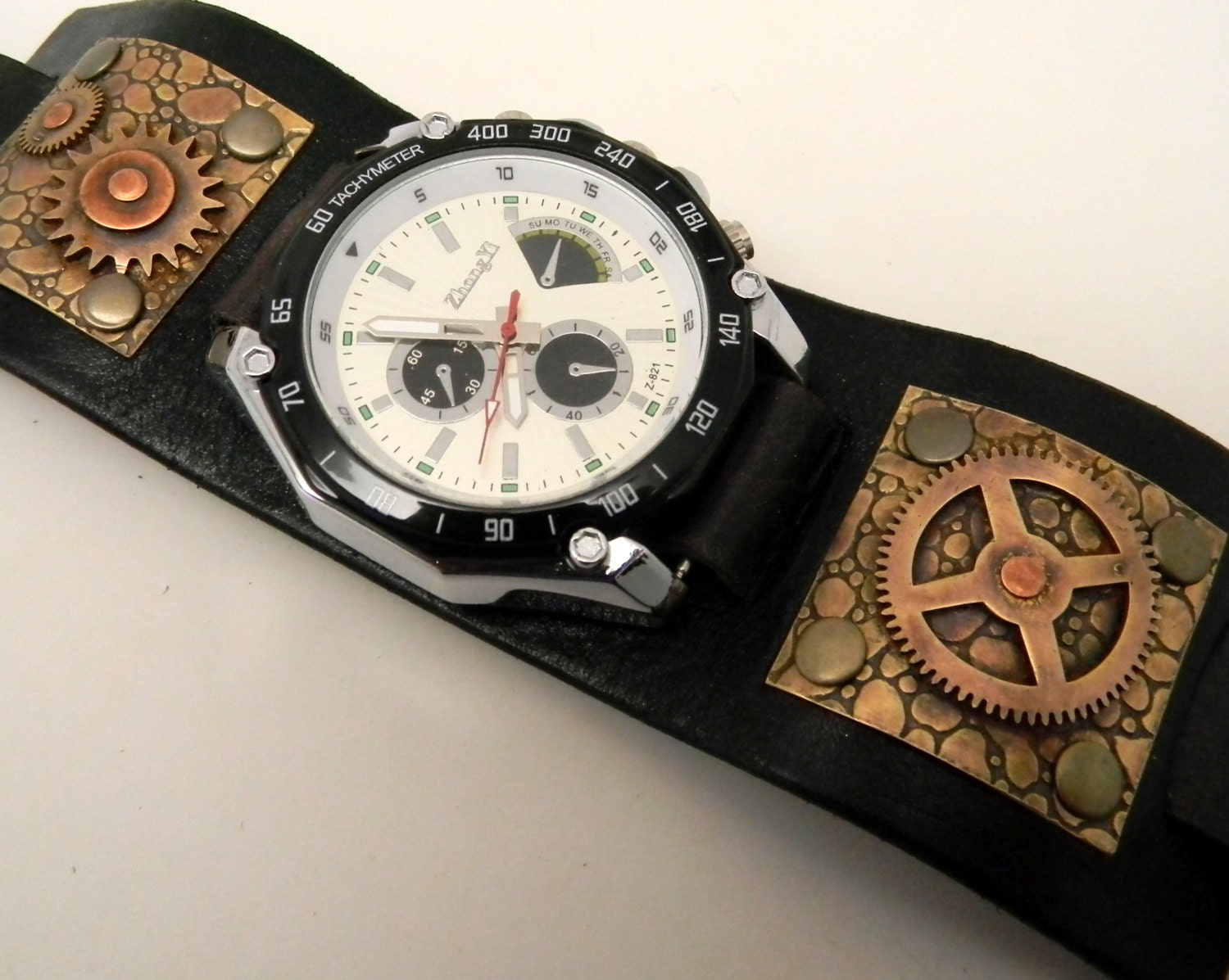 steampunk watch biker watch leather cuff watch by slotzkin