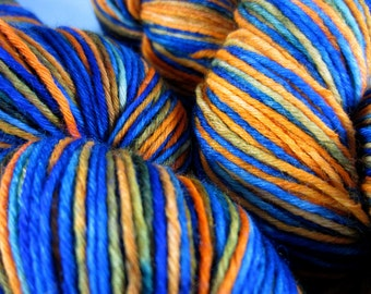 Orange and Royal Hand Painted SW Sock Yarn