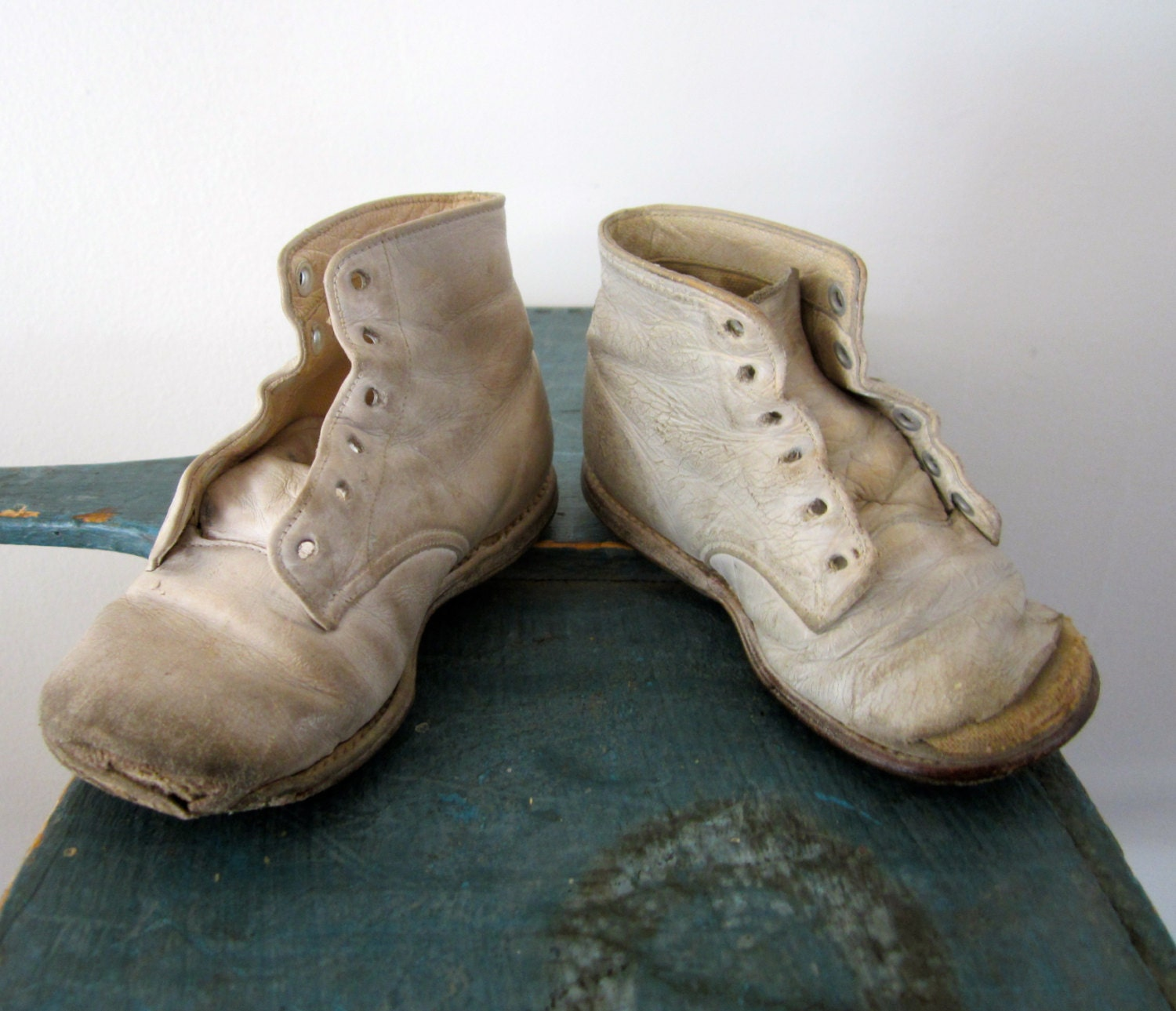 vintage leather baby shoes weathered well loved by