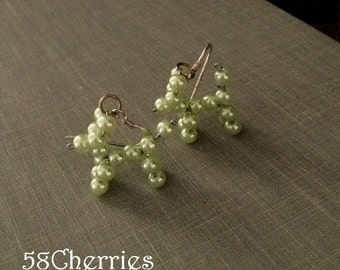 Balloon Animal Glass Pearl Earrings - Light Green French Poodles with Sterling Silver Hooks - Unique and Eclectic Jewelry