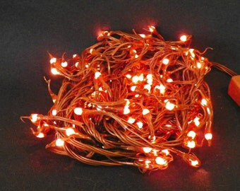 140 Primitive Multiple Function Silicone Teeny Bulbs on Brown Wire, 26 Ft of Lighted Indoor Lights